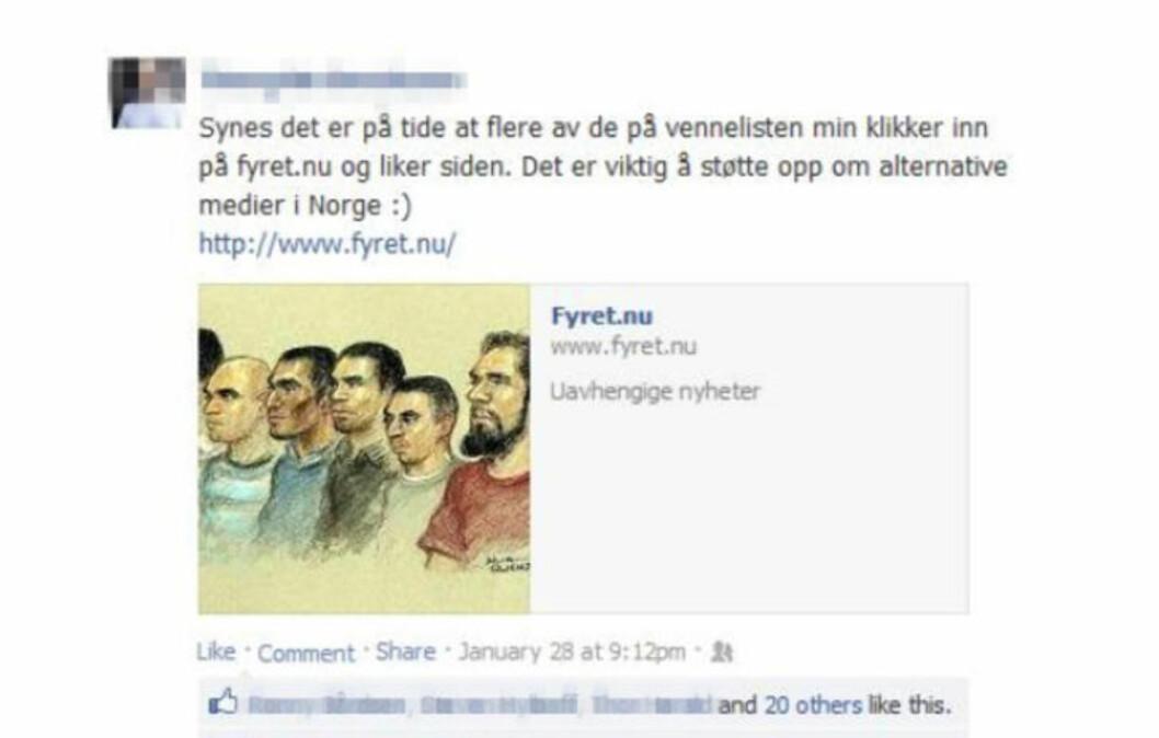 <strong>REKLAMERER:</strong> En av nordmennene Radikal Portal utpeker som bakmenn for Fyret.nu, er en tidligere lederskikkelse i Vigrid. Organisasjonen kjennetegnes bl.a. av beundring for Adolf Hitler, raselære og fornektelse av jødeutryddelsene. Faksimile: Facebook / Radikal Portal