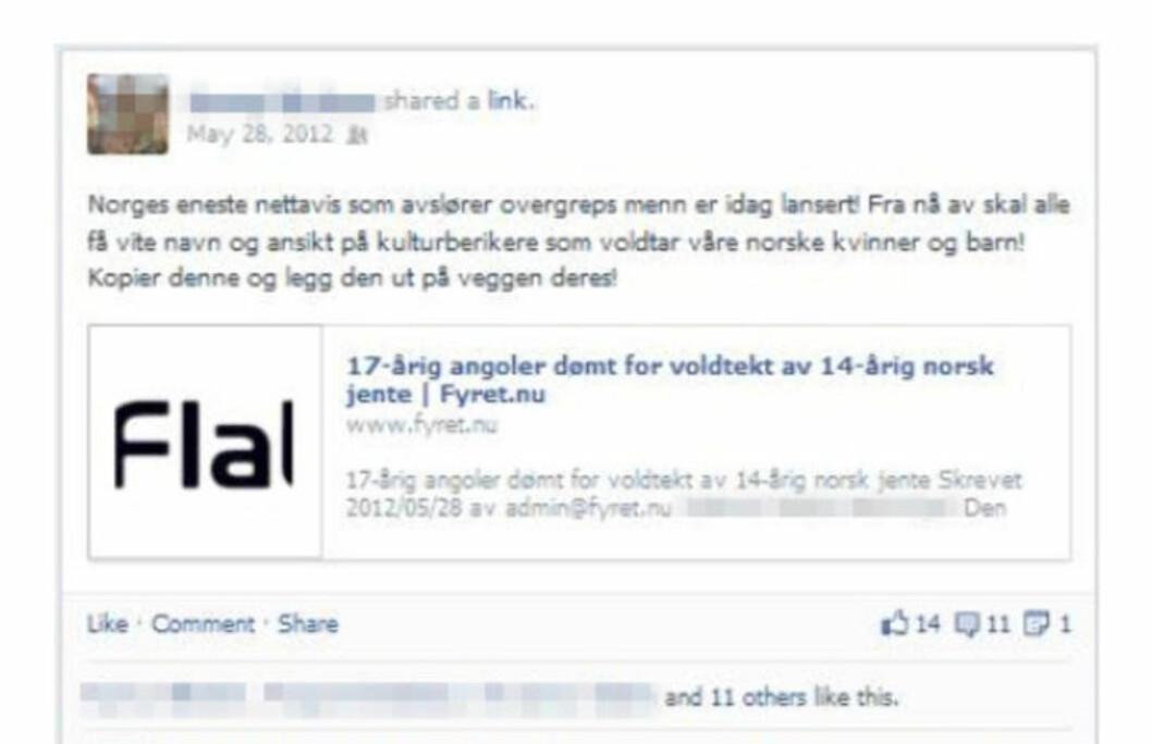 <strong>NORSK HØYREEKSTREM:</strong> Ifølge Radikal Portal er denne Facebook-oppdateringen fra den norske «nasjonalisten» bevis på at han er blant Fyrets bakmenn. Faksimile: Facebook / Radikal Portal