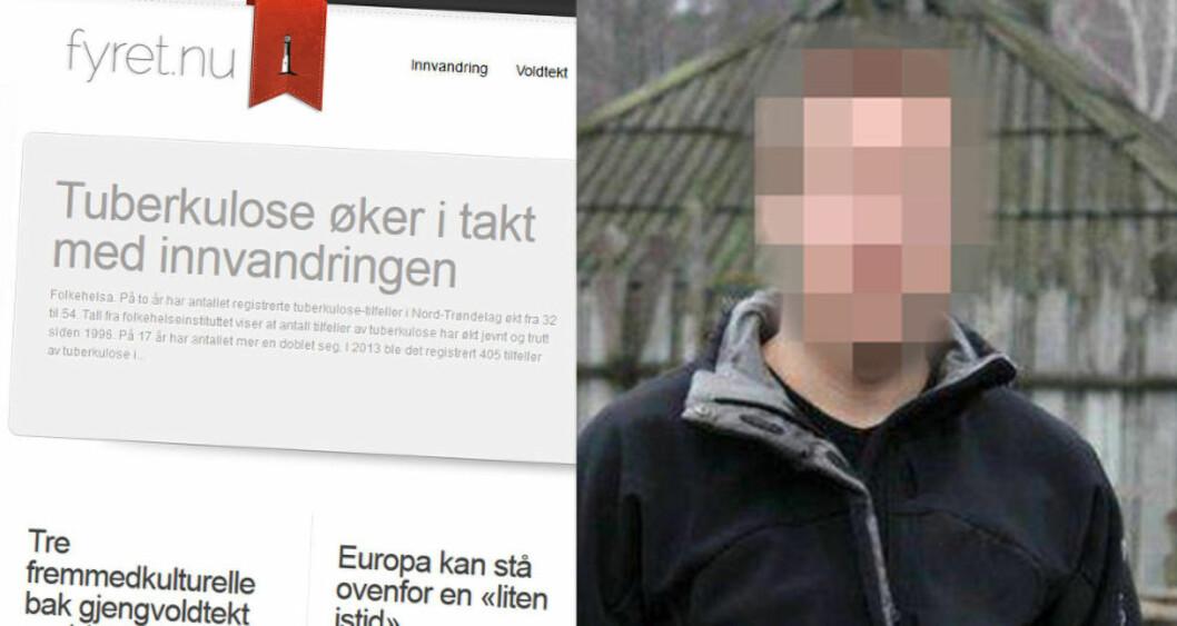 <strong>SAMME NAVN:</strong> Den svenske IT-konsulenten og profilerte høyreekstremisten nekter for å eie domenet Fyret.nu. Men domenet er registrert på samme navn som hans. Faksimile: Fyret.nu