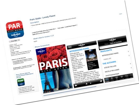 Paris og London er blant byene du nå kan få gratis byguide til om du har iTunes-konto og iPhone, Touch eller iPad. Foto: App Store