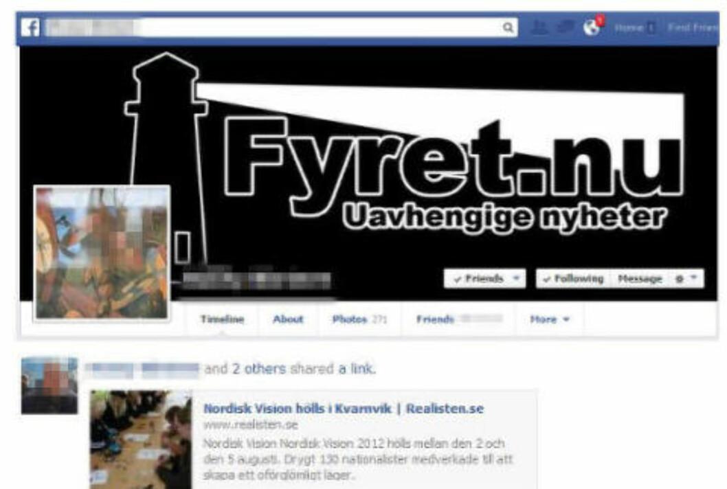 <strong>UTPEKES:</strong> En kjent norsk høyreekstrem fra Vestfold utpekes av Radikal Portal for å være en av Fyret.nu's bakmenn, blant annet på bakgrunn av Facebook-aktiviteten hans. Den viser også at mannen i 30-åra har nær omgang med SvP. Faksimile: Facebook / Radikal Portal