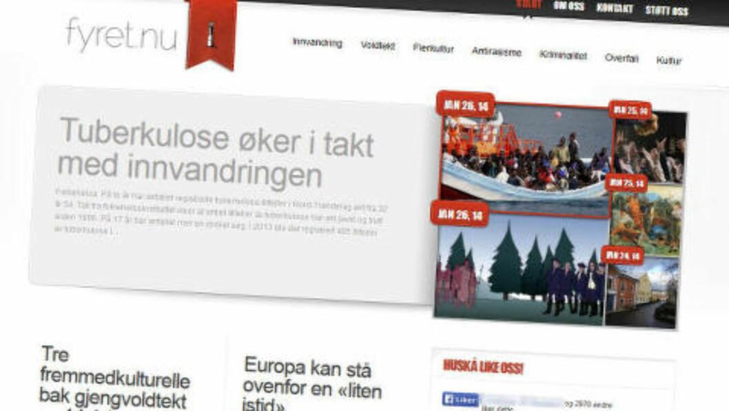 <strong>STENGT:</strong> Fyret.nu utgir seg for å være en nyhetsside som «gir den usensurerte sannheten», bl.a. om innvandring og voldtekt begått av mørkhudede gjerningsmenn. Men nettstedet har tette bånd til norske og svenske nazister og seiler under falskt flagg, ifølge Radikal Portal. Etter Dagbladets oppslag, er nettstedet nå stengt. Faksimile: Fyret.nu
