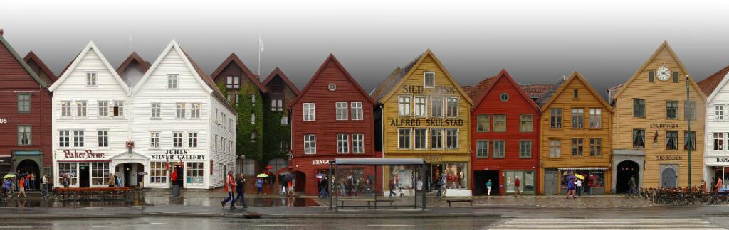 Panorama fra Bryggen i Bergen.        Foto: Gerd A.T. Mueller