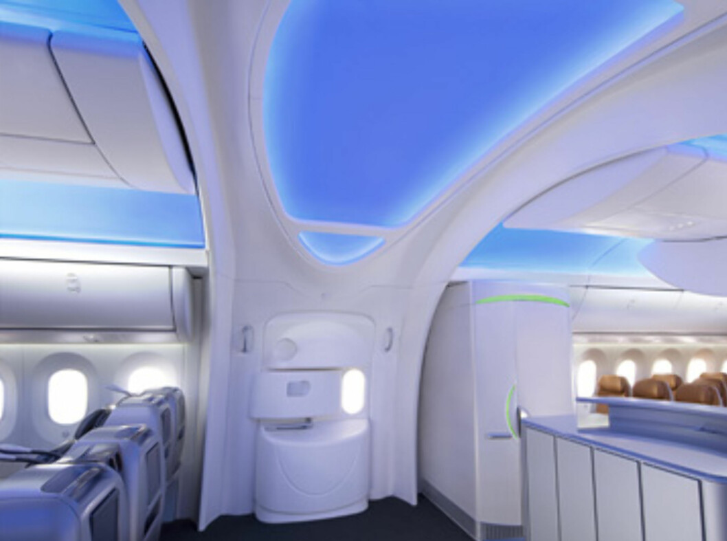 Moderne og luftig interiør. Her fra inngangspartiet. Foto: Boeing