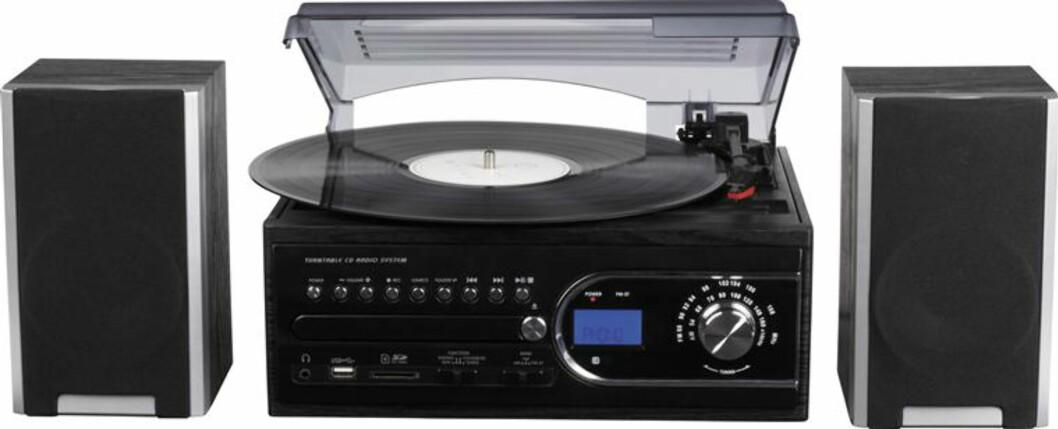 Radio, plate/CD/kassettspiller med opptaksfunksjon på minneplugg og SD-kort Foto: Clas Ohlson