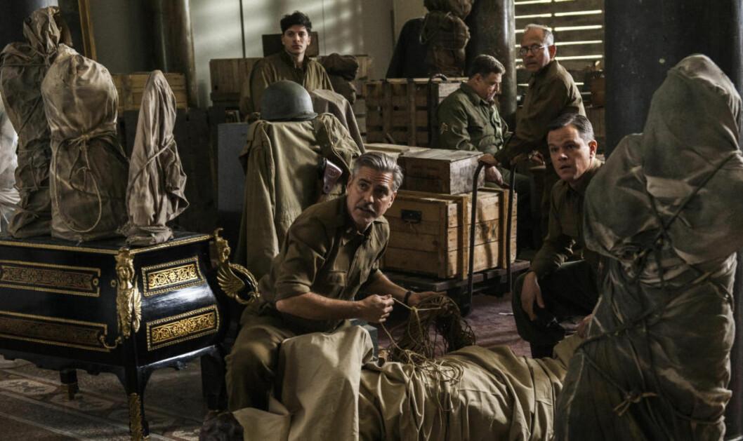 <strong>SKAPER OPPMERKSOMHET:</strong> Med Hollywood-sluggerne George Clooney og Matt Damon på laget, har filmatiseringen av «The Monuments Men» satt nytt søkelys på nazistenes kunsttilranelser. Foto: Filmweb