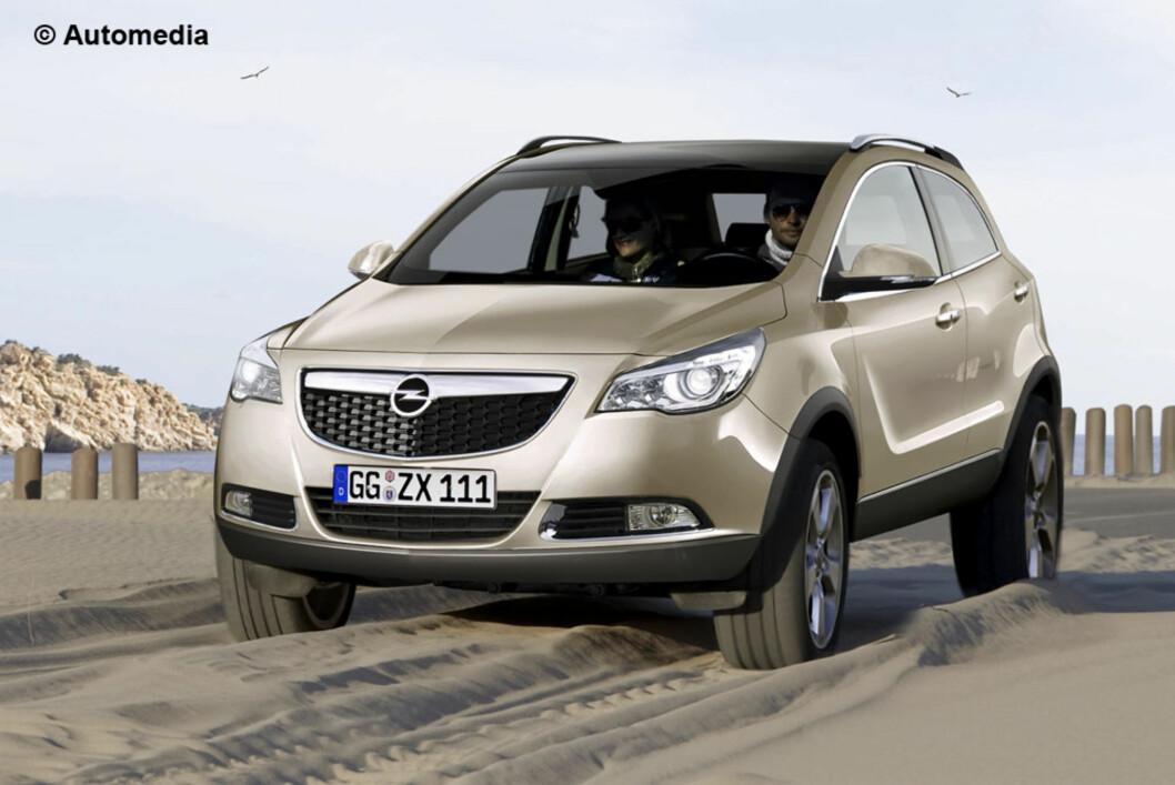 Slik ser Automedia for seg Opels kommende lille SUV basert på Corsa. Foto: Automedia