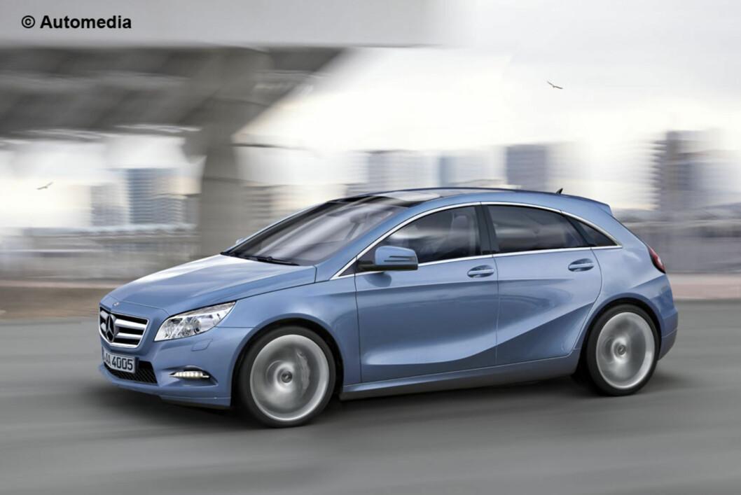 Neste Mercedes A-klasse skal visstnok på markedet i 2012. Slik mener Automedia den vil bli. Den minner ganske mye om konseptbilen vi kjørte i fjor (med eldrift), BlueZero Concept. Foto: Automedia