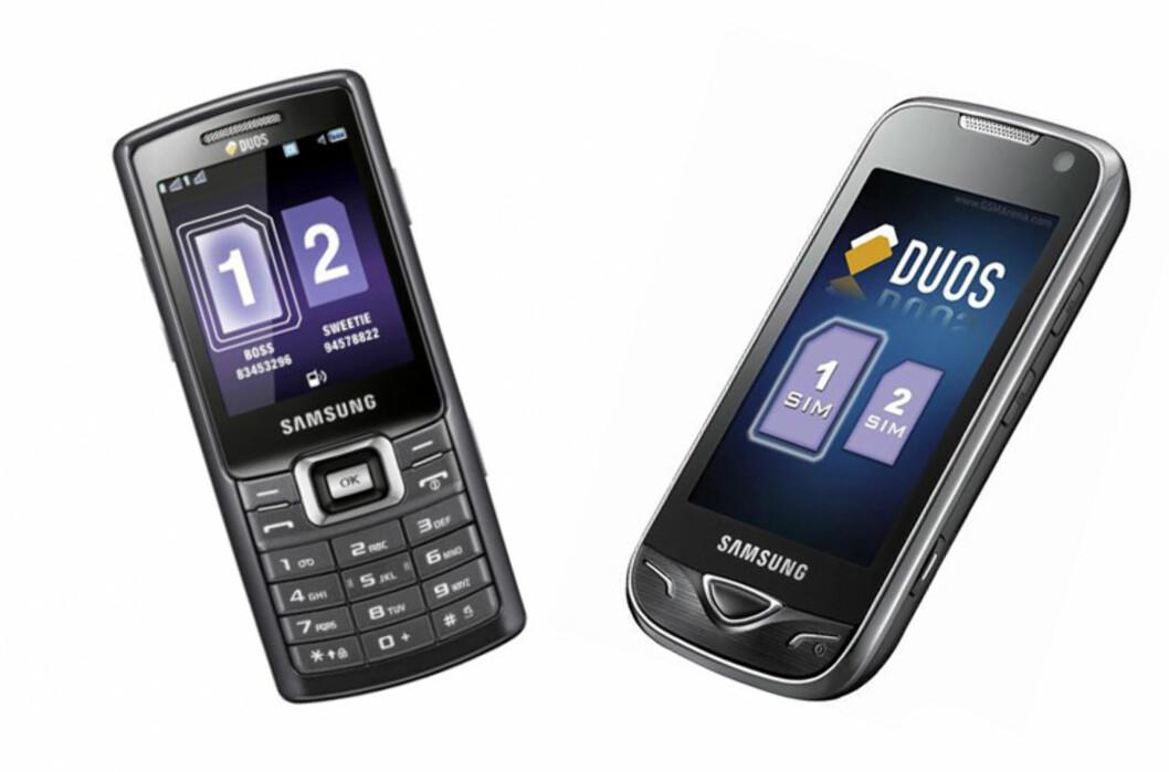 To Dual SIM-mobiler fra Samsung. C5212 til venstre og B7722 til høyre. Foto: Produktbilder/Montasje