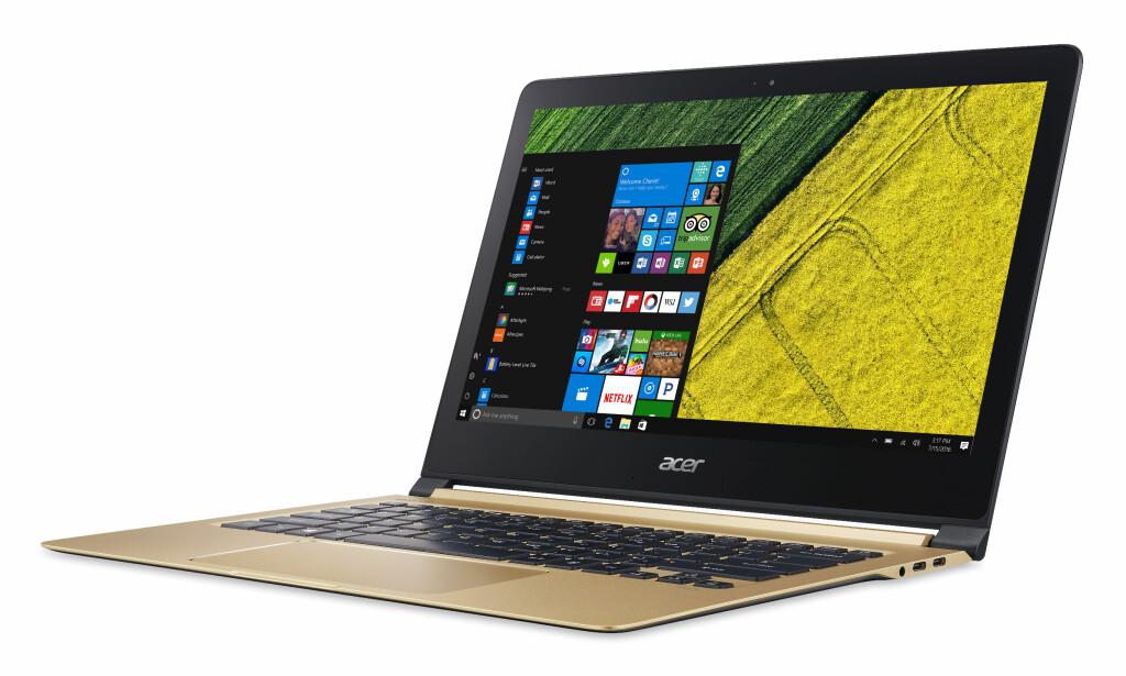 SLANK: Acers nye Swift 7 er en syltynn bærbar PC på 9,98 millimeter. Vekten er 1,1 kilo. Foto: Acer