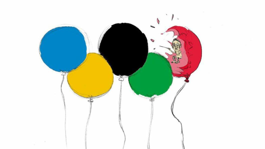 <strong>BLINDE NÅR DET PASSAR:</strong> Gerhard Heiberg irettesatte dei norske utøverane for å gå med sørgeband. Artikkelforfattar Øystein Runde set pris på raseriet mot arrangementet og systemet i Russland. Illustrasjon: Øystein Runde