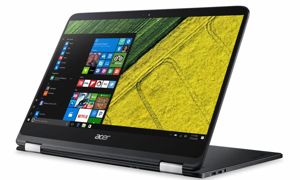SPIN 7: Er en ny hybrid fra Acer. Den er litt tykkere enn Swift 7, men litt tyngre. Den har også en større 14-tommer Full HD-skjerm med IPS-panel som kan vendes helt bak som Lenovos Yoga-serie. Den har også en litt kraftigere prosessor enn Swift 7. Prisen blir fra 12.990 kroner. Foto: Acer