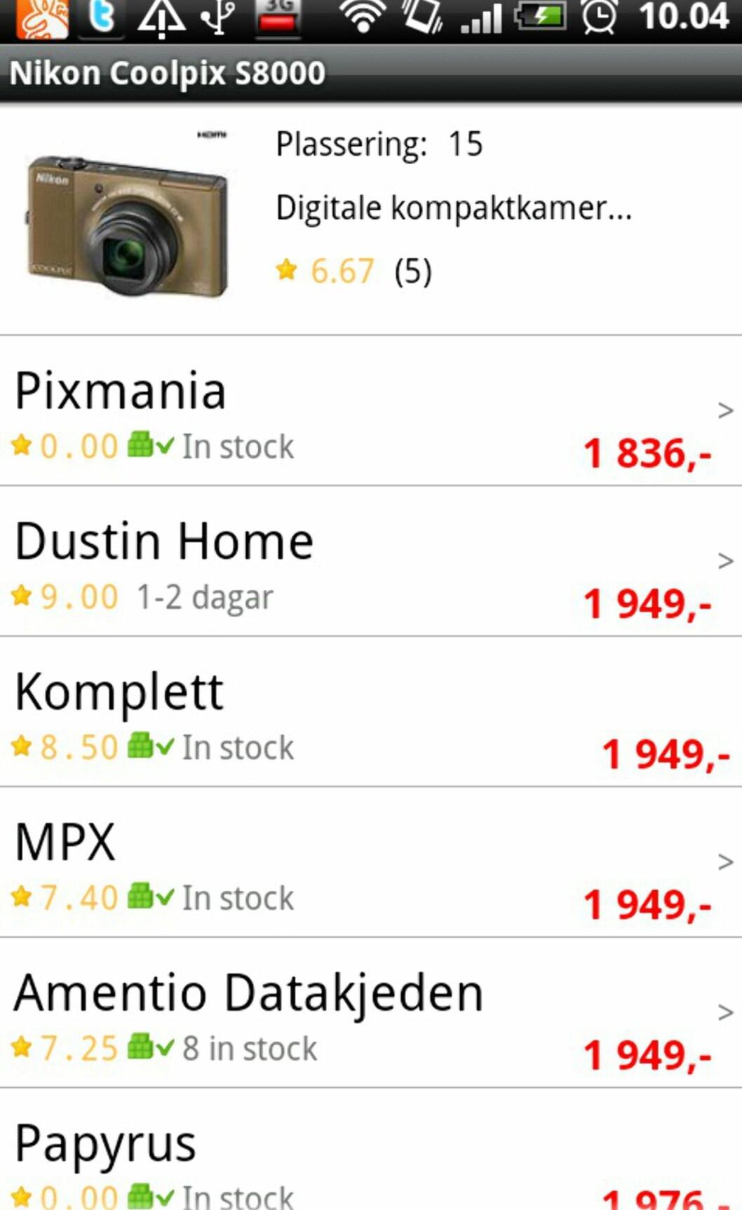 Her er de billigste prisene på kameraet vi sjekket.