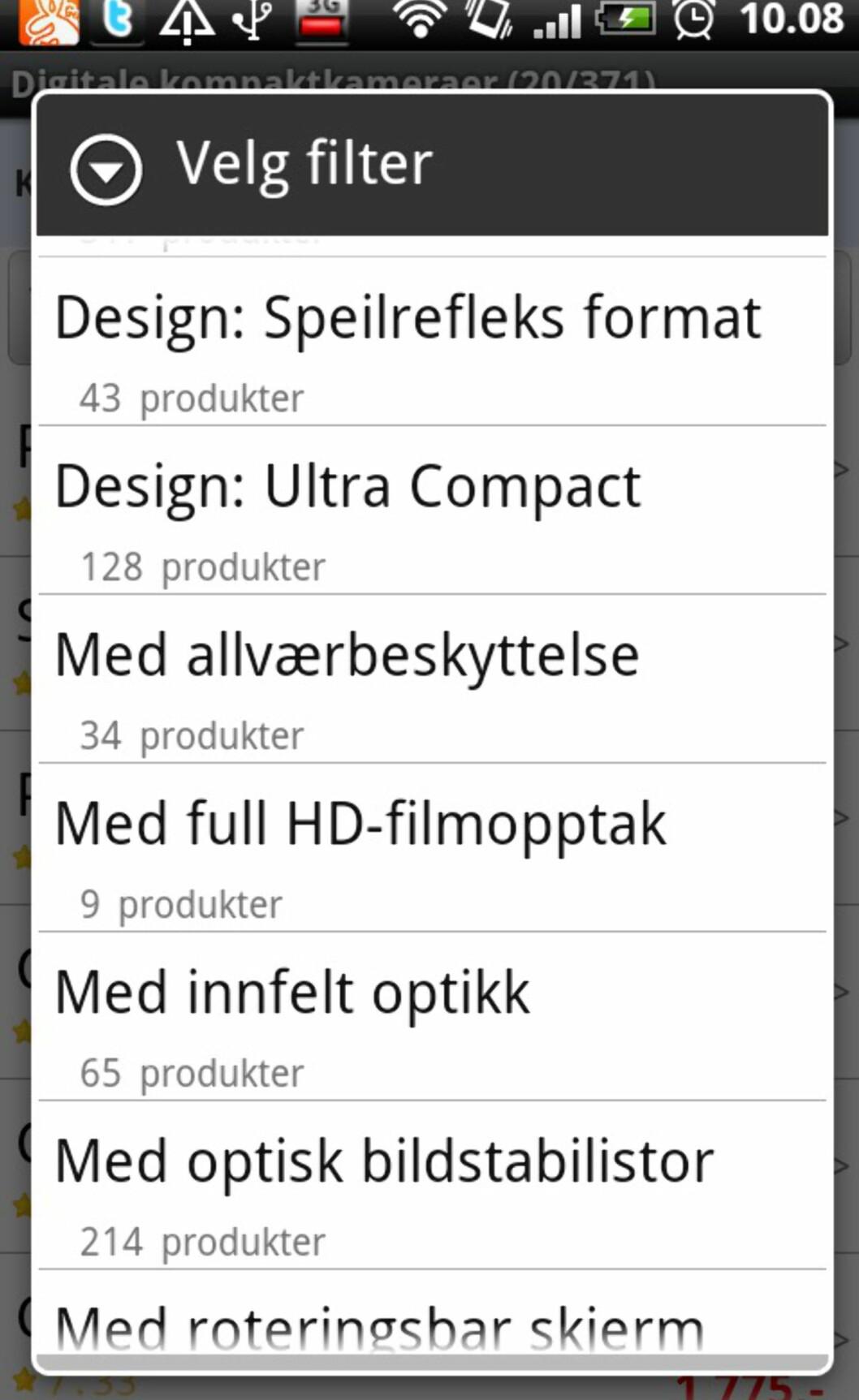 Du kan filtrere en kategori basert på enkeltkriterier.