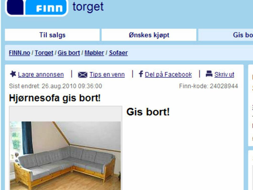 Med denne sofaen har du plass til mange gjester. Foto: Finn.no