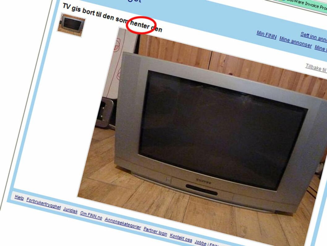 TV-en får du, mot at du henter den. Det gjelder mange av gratisgjenstandene. Foto: Finn.no