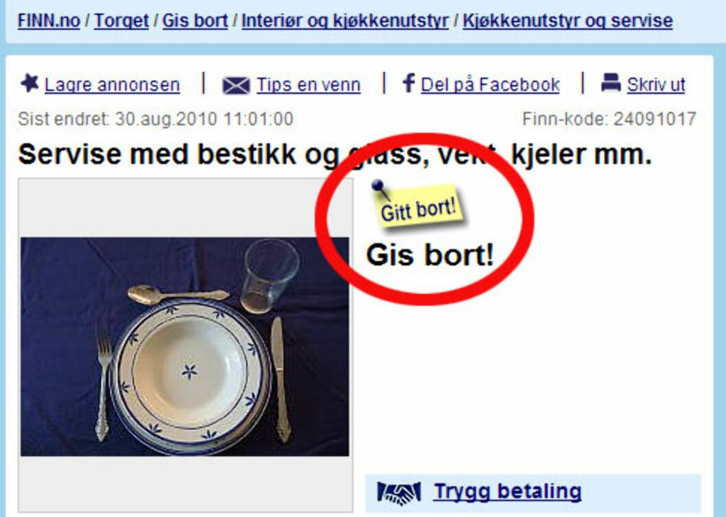 Populære gratisgjenstander går fort unna på finn.no. Foto: Finn.no