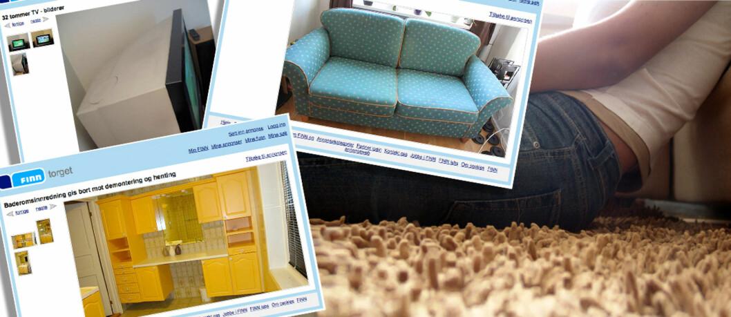 <strong><strong>GRATIS:</strong></strong> Tykke TV-apparater, sofaer, kjøkken- og baderomsinteriør. Og best av alt - det koster deg (nesten) ingenting. Foto: Finn.no/Per Ervland