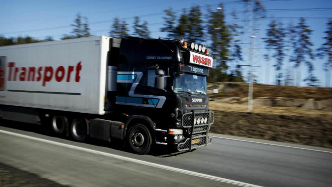 <strong>KABOTASJE:</strong> En ny app er tatt i bruk for å registrere utenlandske vogntogs bevegelser på norske veier. Foto: Erlend Aas/Scanpix