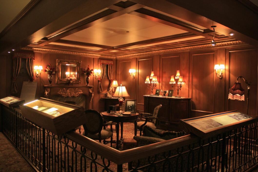 Slik så salongen ut i en førsteklassekabin. Foto: Titanic Pigeon Forge