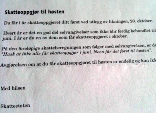 <strong><B>SORRY, IKKE NÅ:</strong></B> Dette brevet inneholder ikke gode nyheter hvis du har penger tilgode.