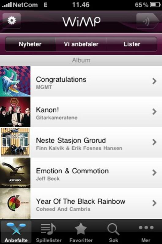 <strong><B>SMART HJEMMESKJERM:</strong></B> Hvis du savner ny musikk får du opp flere alternativer i Wimp for iPhone.