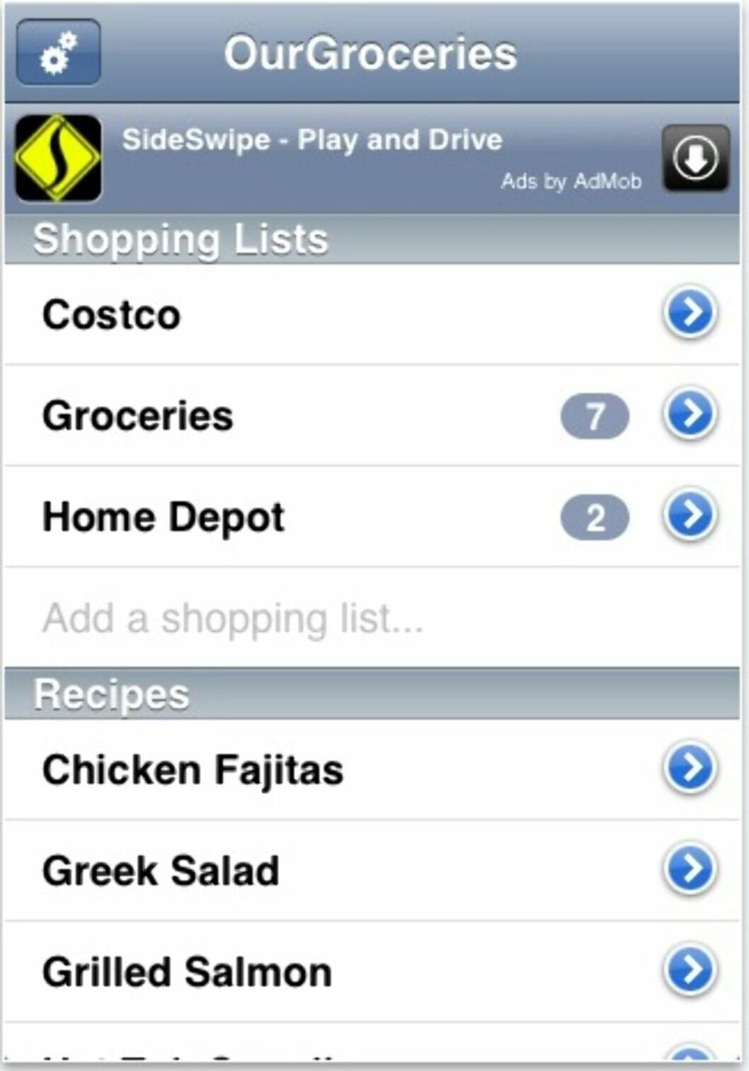 iPhone-versjonen av OurGroceries. Applikasjonen er gratis, men viser en annonse på toppen.