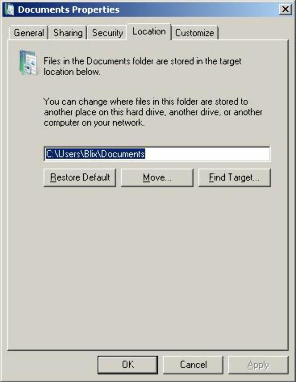Høyreklikker du på Dokumenter, velger egenskaper og deretter plassering, kan du velge hvilken katalog Dokumenter-mappen peker til.