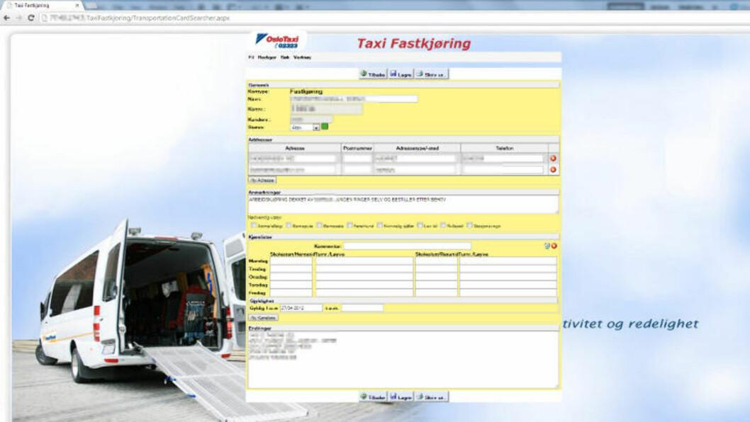 <strong>EN AV 5958 KUNDER:</strong> Dette er eksempel på et kort tilhørende en kunde i databasen tilhørende Oslo Taxi. Informasjon er sladdet av Dagbladet. Foto: Skjermdump