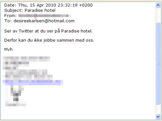 Her er e-posten Desiree Karlsen skal ha fått fra innehaveren i reklamebyrået.