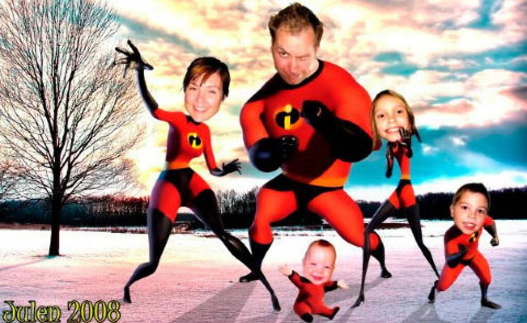 DE UTROLIGE: Anette, John-Espen, Annika, Isak og Jonah lot julekortet bli inspirert av filmen. Fotomontasje: PRIVAT
