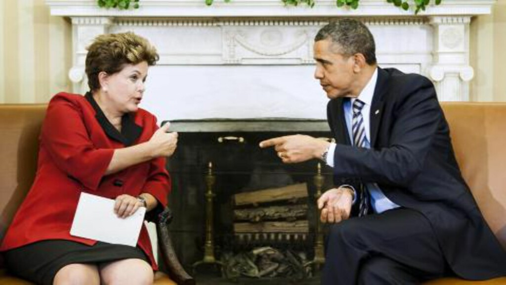 DIPLOMATIC ISSUE: Brazil has previously summoned the US ambassador to Brazil, Thomas Shannon, over  allegations that the US National Security Agency spied on President Dilma Rousseff. Above Rousseff is talking to Obama in the oval office. Photo: Brendan SMIALOWSKI/AFP