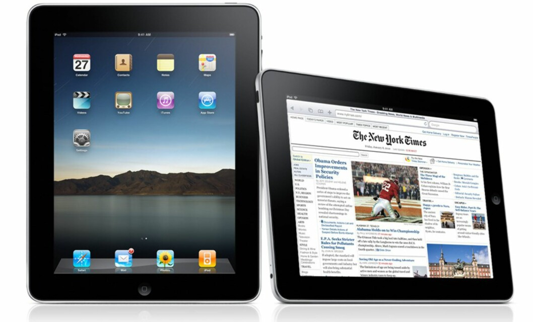 <strong>SE HER JA:</strong> iPad er en tavle-pc med flertrykksskjerm som egner seg godt til poddkaster, nettprat, strømming og nettfletting av ulik art. Foto: Apple