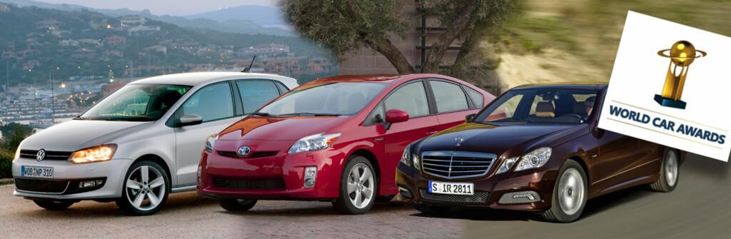 En av disse bilene vil bli tildelt den gjeve tittelen World Car of the Year 2010. Fra venstre Volkswagen Polo, Toyota Prius og Mercedes-Benz E-klasse. Foto: Per Ervland