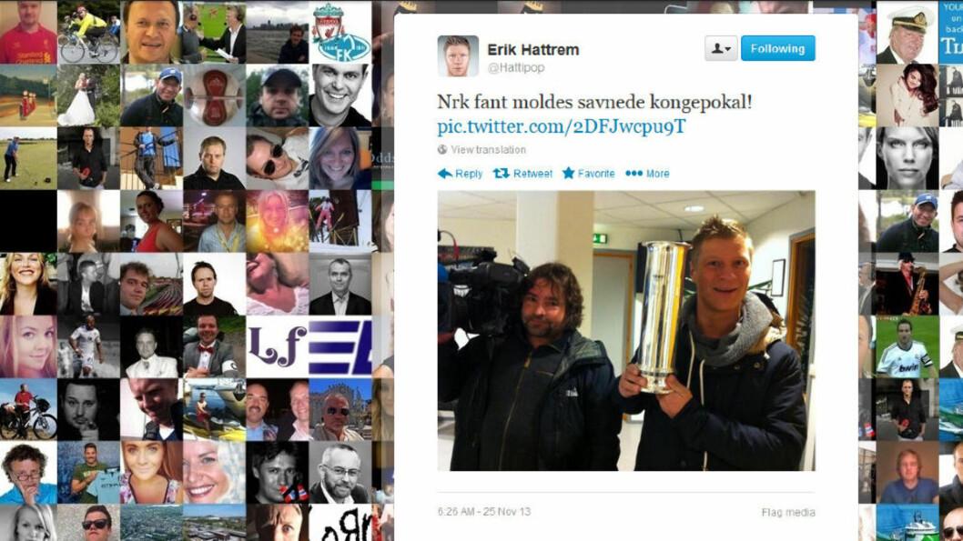 <strong>HER ER DEN:</strong> Erik Hattrem oppdaterte twitterprofilen sin med bilde av seg selv og den bortkomne pokalen.Fakismile: Erik Hattrems twitterprofil, @hattipop