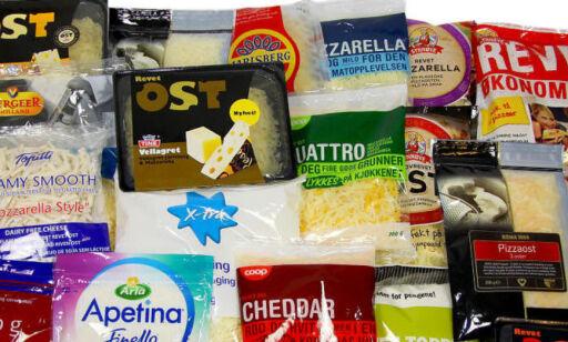 image: Stor ernæringstest av ferdigrevet ost og pizzatoppinger
