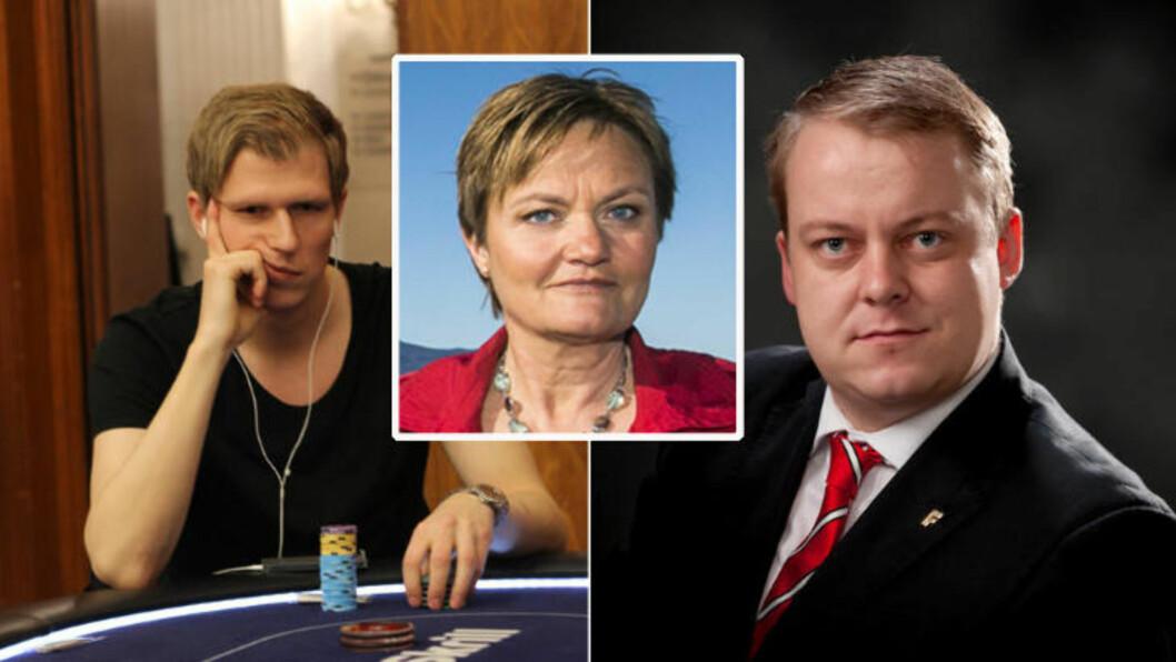 MOT POKER:  Rigmor Aasrud (Ap) liker ikke at Frp-politiker Erlend Wiborg har takket ja til en pokerduell mot Ola Amundsgård. Foto: Lina Olofsson / PokerStarsblog.nu og www.erlendwiborg.com / NTB Scanpix.