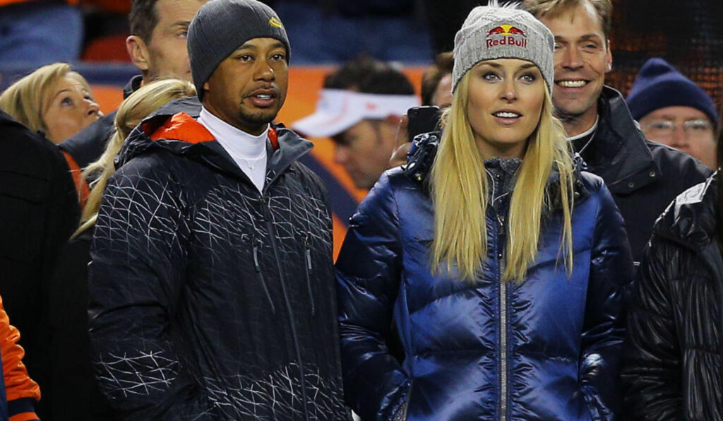 HER KOMMER VINTEREN: Tiger Woods og Lindsey Vonn fotografert under NFL-kamp mellom Denver Broncos og Kansas City Chiefs i november. Foto: Justin Edmonds/Getty Images/AFP