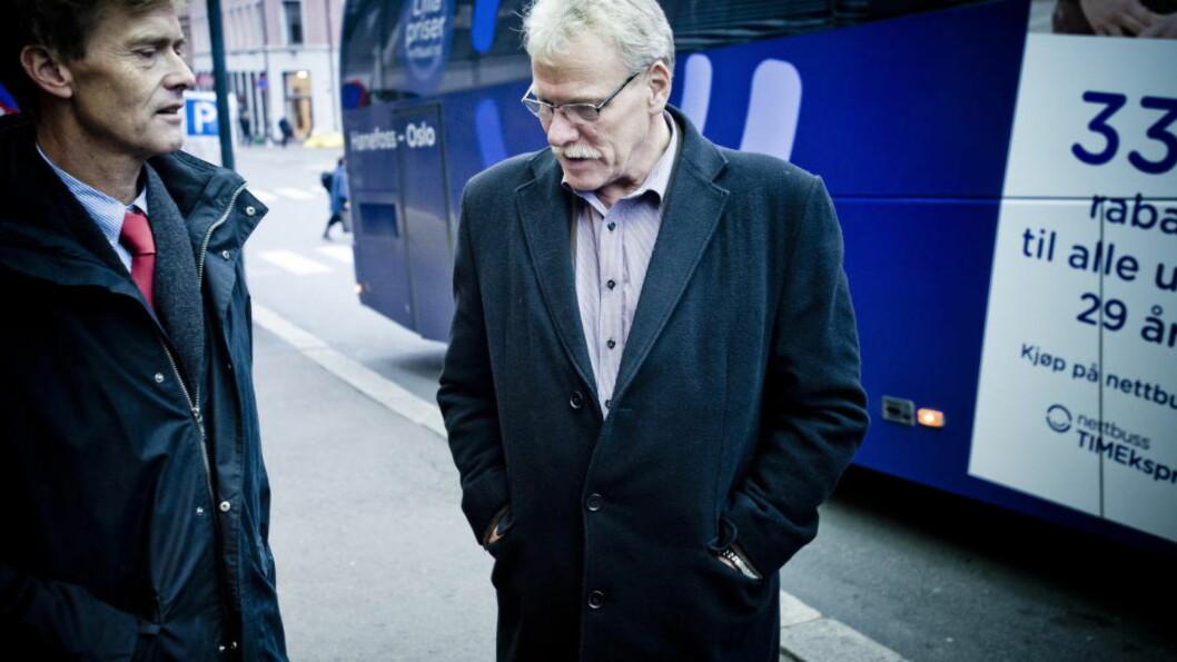 <strong>AMPER STEMNING:</strong> Administrerende direktør i NHO Transport, Jon H. Stordrange og leder i Norsk transportarbeiderforbund, Roger Hansen Foto: Thomas Rasmus Skaug  / Dagbladet