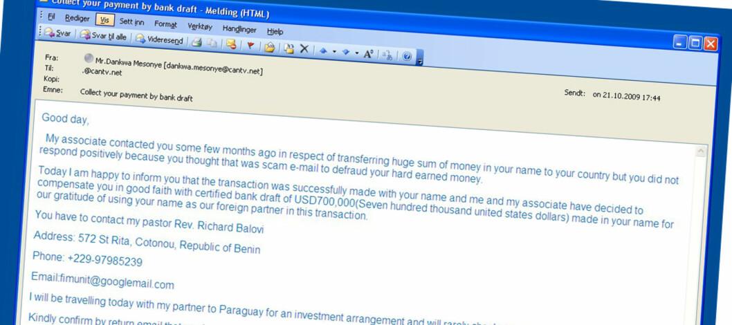 De tidligere Nigeria-brevene kommer nå på e-post, og dette er et typisk eksempel.