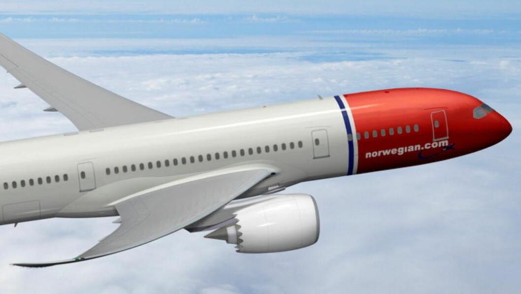 <strong>NORWEGIANS FLAGGSKIP:</strong> Et av Norwegians Boeing 787 «Dreamliner»-fly. Foto: NORWEGIAN