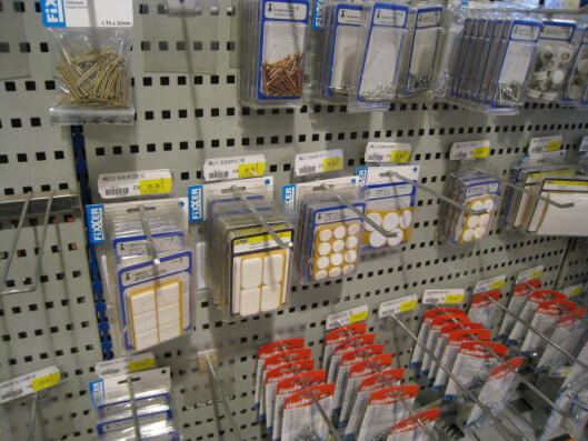 <strong>110,70 kr:</strong> Hos XL-Bygg på Vøyenenga i Asker koster 20 møbelknotter 110,70 kroner. Foto: Arkiv