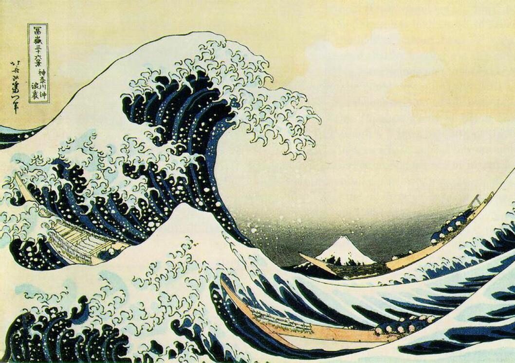 <b>Og i bakgrunnen.. </b>Fuji er også synlig langt til havs, som her på Japans kanskje mest berømte bilde. Foto: Wikipedia