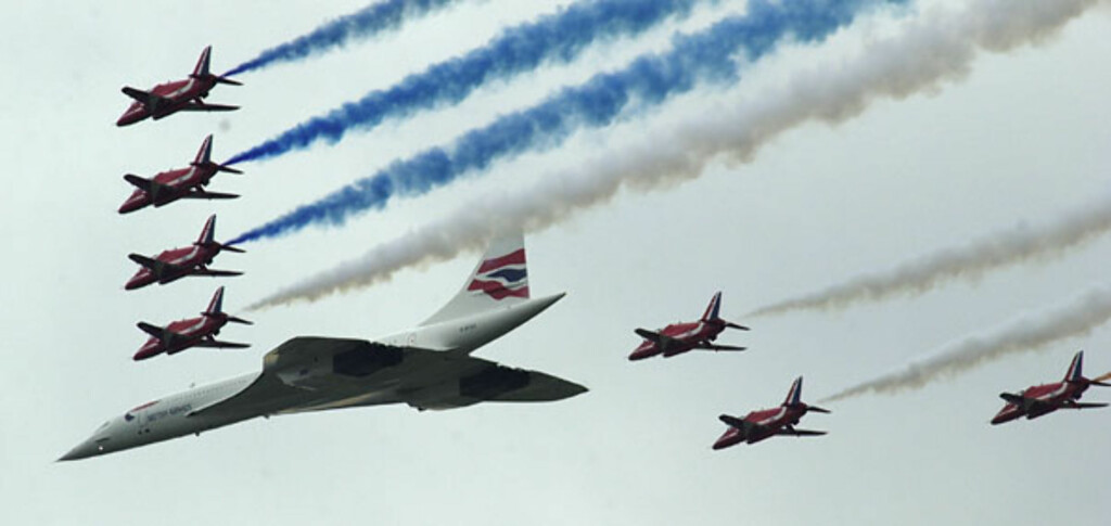 Concorde var British Airways store stolthet. Her fra en oppvisningstur. Foto: British Airways