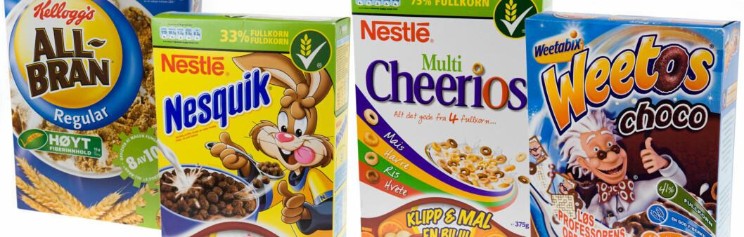 SUNN INNPAKNING: Visste du at disse frokostblandingene inneholder mellom 21,7-35 gram sukker per 100 gram? Foto: Alle foto: Per Ervland