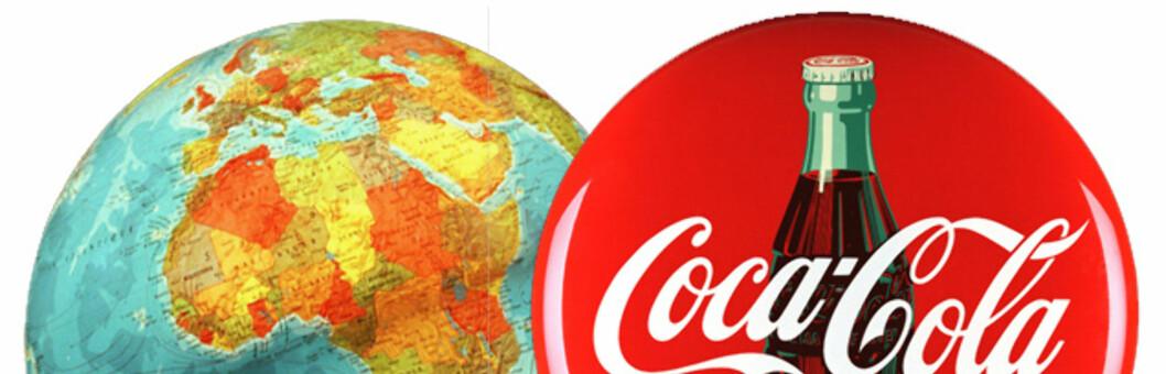 <strong>VERDEN RUNDT:</strong> Coca-Cola finnes i over 200 land, men smaken skal visstnok være den samme. Foto: Montasje: Colourbox.com og Coca-Cola Norge