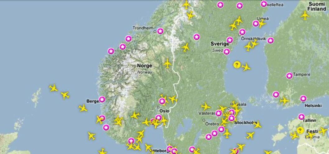 Slik ser flytrafikken i Skandinavia ut en mandags formiddag. Foto: www.flygradar.nu