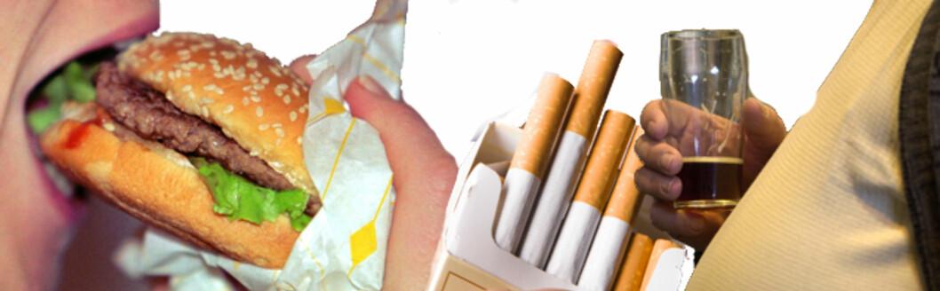 <strong>KJENTE KREFTRISIKOER:</strong> Forskere er enige om at rødt og bearbeidet kjøtt, tobakk, alkohol og fedme øker faren for kreft. Foto: Montasje: Colourbox.com