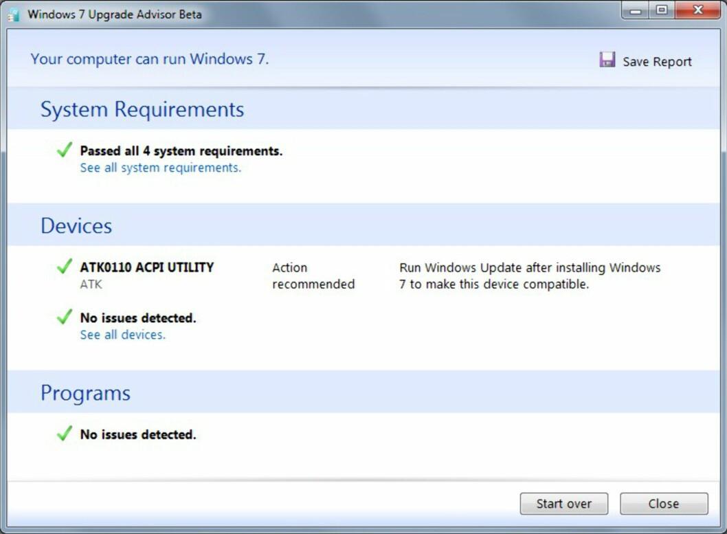 Sjekk om PC-en takler Windows 7