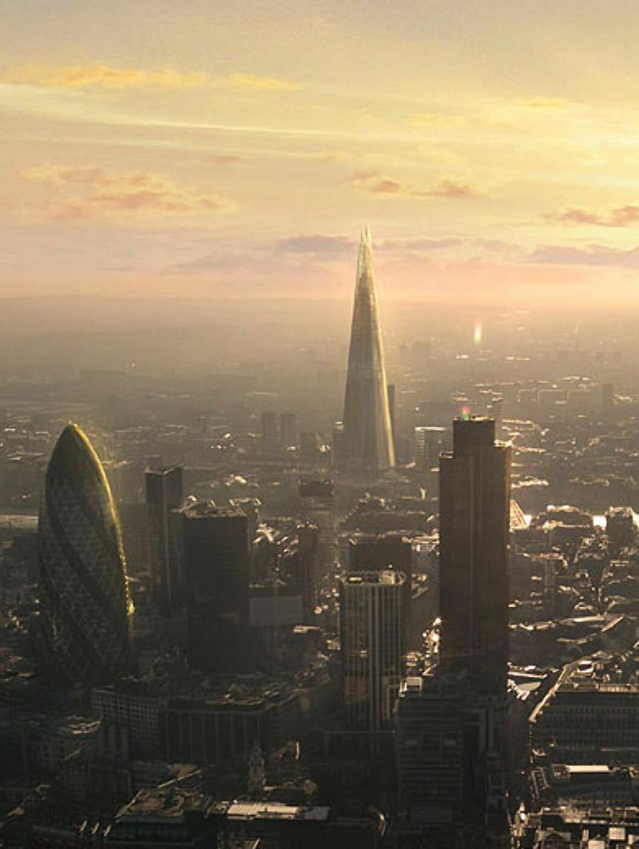 En visualisering av hvordan The Shard vil ta seg ut. I forgrunnen ser vi andre, nye signaturbygg i London. Blant annet One Canada Square som er Londons høyeste med 235 meter. Foto: Sellar Property Group